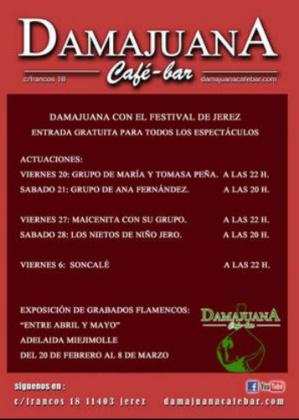 Programación de flamenco en Damajuana durante el Festival de Jerez 2015