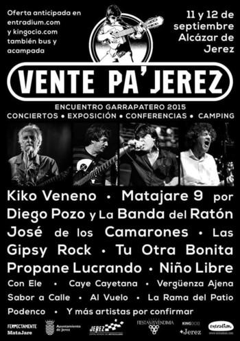 El festival Vente pa Jerez 2015 se celebrará los días 11 y 12 de septiembre