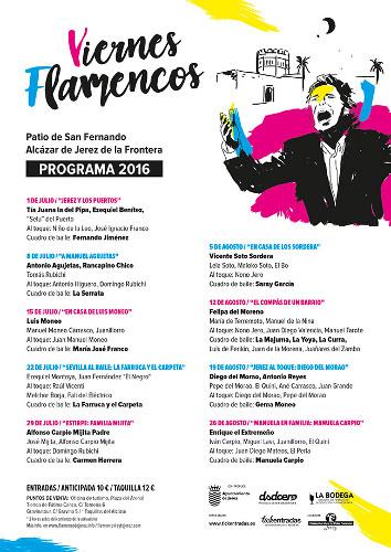 Cartel y programa de los Viernes Flamencos de 2016