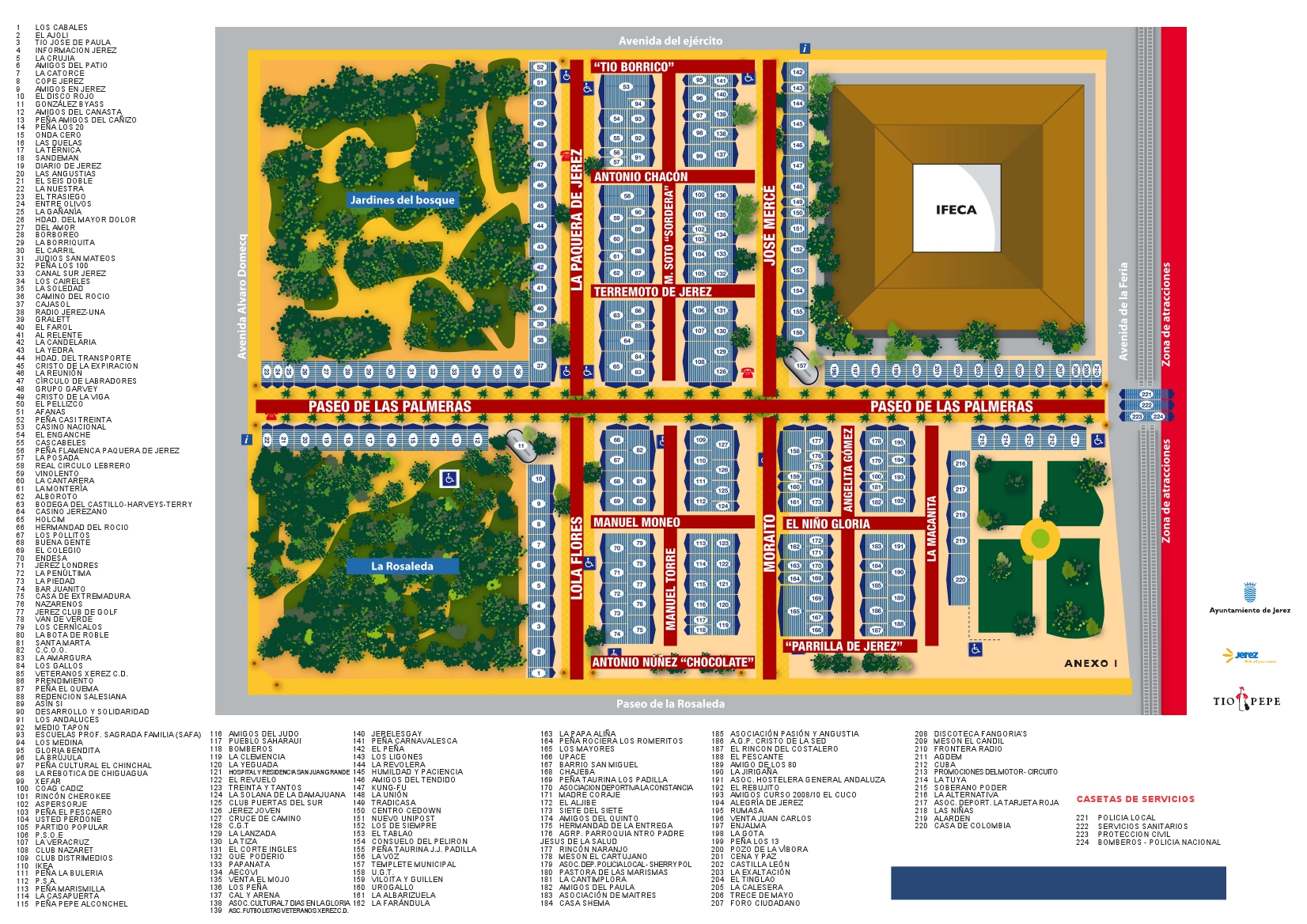 Plano de casetas de la Feria del Caballo 2012