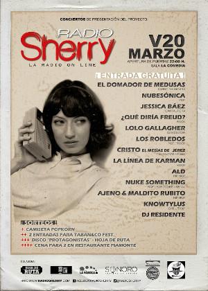Cartel de la Fiesta Radio Sherry que se celebrará en Comedia