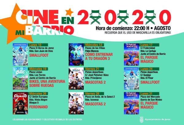 Programación del ciclo Cine en Mi Barrio 2020 en Jerez