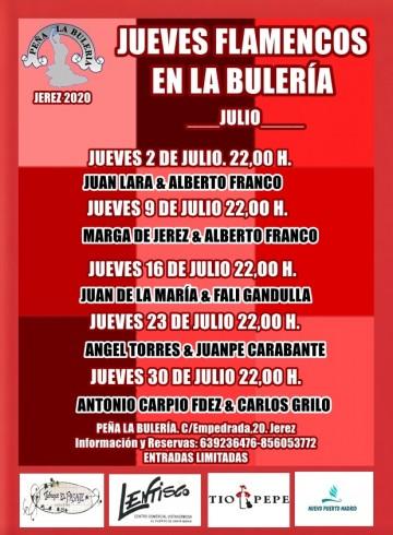 Programa de los Jueves Flamenco 2020 en la Peña La Bulería